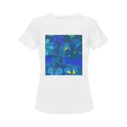 Abstract Blue Floral Design 2020 Women's T-Shirt in USA Size (Front Printing Only)