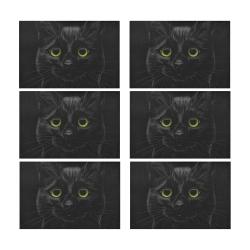 Black Cat Placemat 12'' x 18'' (Six Pieces)