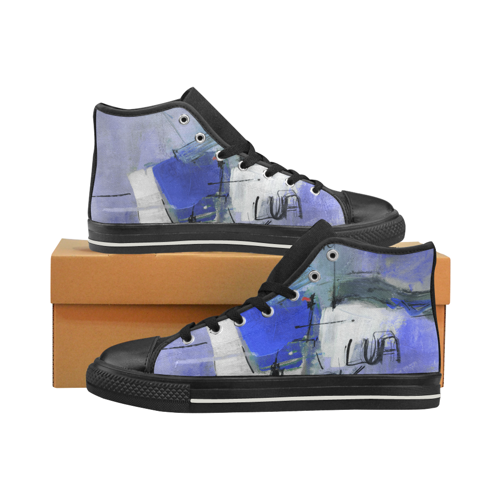 Lua Blue High Top Canvas Shoes for Kid (Model 017)
