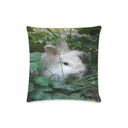 "Precious White Bunny Rabbit Custom Zippered Pillow Case 16""x16""(Twin Sides)"