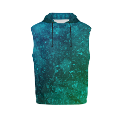 Blue and Green Abstract All Over Print Sleeveless Hoodie for Women (Model H15)