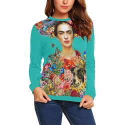 Frida Kahlo Secret Garden Teal (I) All Over Print Crewneck Sweatshirt for Women (Model H18)