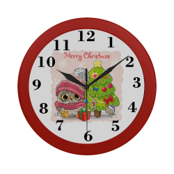 Merry Christmas Holiday Owl Circular Plastic Wall clock