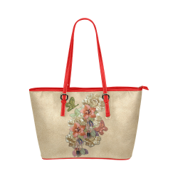 Leather craft flowers Leather Tote Bag/Small (Model 1651)