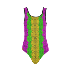 Hipster or hippie in  pattern style Vest One Piece Swimsuit (Model S04)