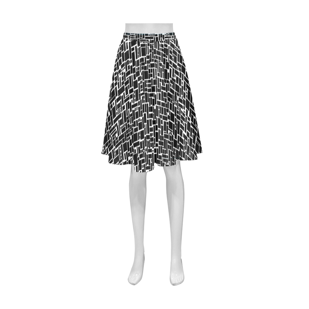 BLACK AND WHITE BOX PATTERN Athena Women's Short Skirt (Model D15)