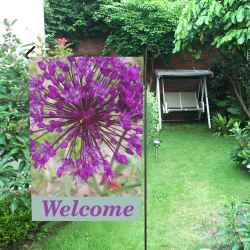 Purple Allium Welcome Flag Garden Flag 12''x18''(Without Flagpole)