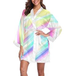 Rainbow Stripe Abstract Long Sleeve Kimono Robe