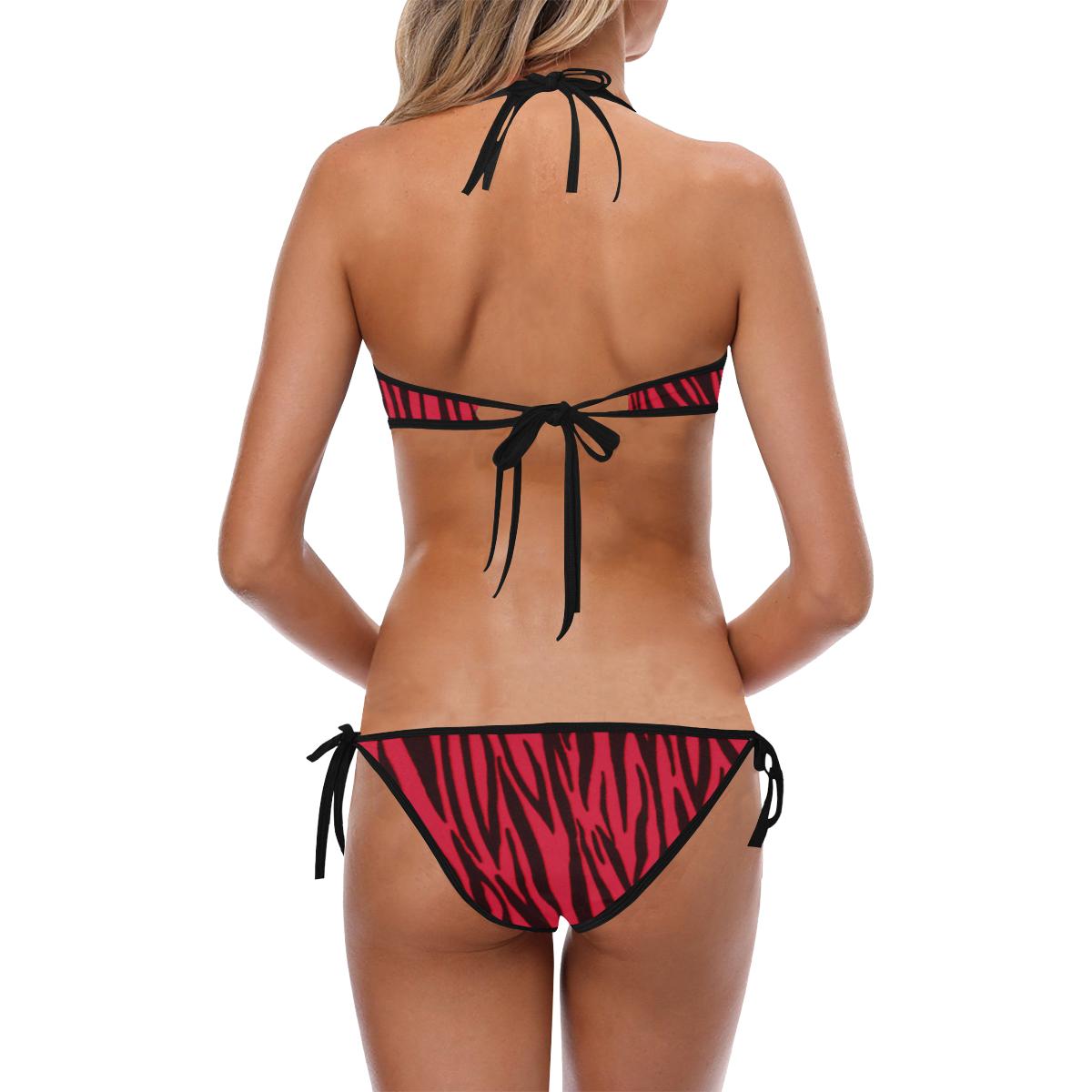 Red Zebra Pattern Custom Halter & Side Tie Bikini Swimsuit (Model S06)