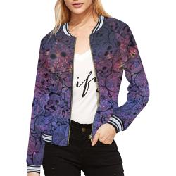 Cosmic Sugar Skulls All Over Print Bomber Jacket for Women (Model H21)