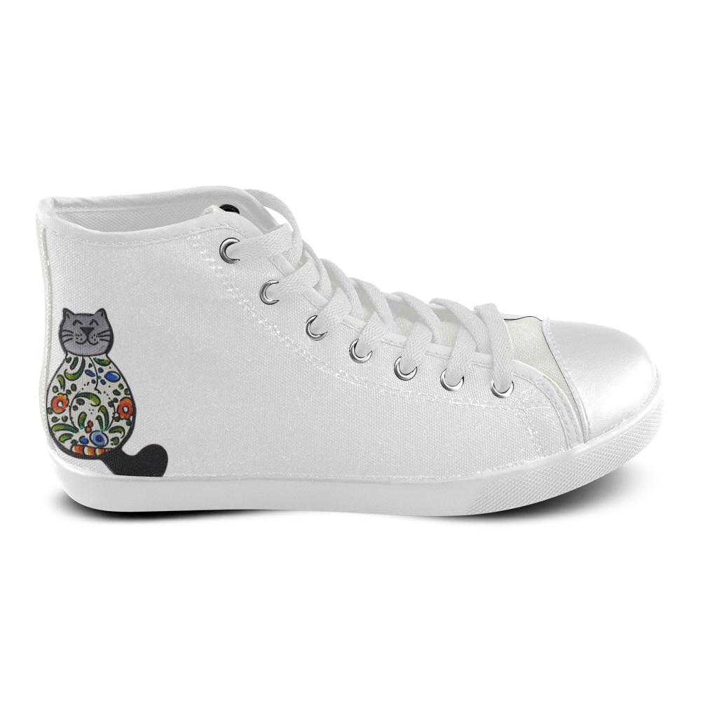 Cat Women's High Top Canvas Shoes (Model 002)