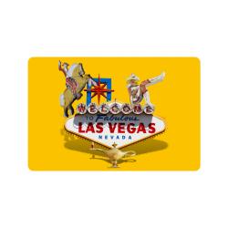 """Las Vegas Welcome Sign on Yellow Doormat 24""""x16"""""""