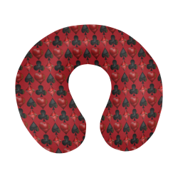 Black and Red Casino Poker Card Shapes U-Shape Travel Pillow
