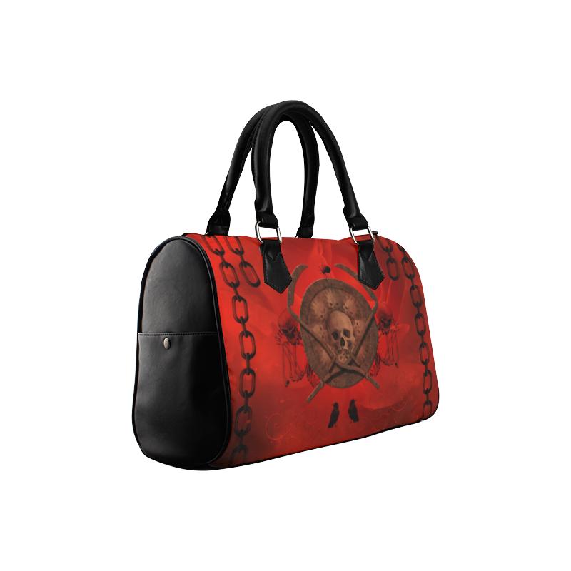 Skulls on red vintage background Boston Handbag (Model 1621)
