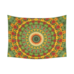 "Garden Mandala Cotton Linen Wall Tapestry 80""x 60"""
