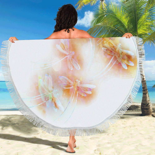 "Watercolor dragonflies Circular Beach Shawl 59""x 59"""