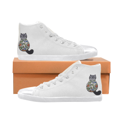 Cat Women's High Top Canvas Shoes (Model 002)