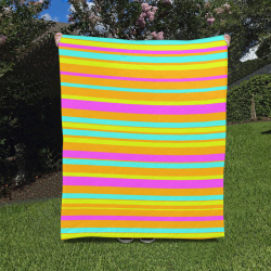 """Neon Stripes  Tangerine Turquoise Yellow Pink Quilt 50""""x60"""""""