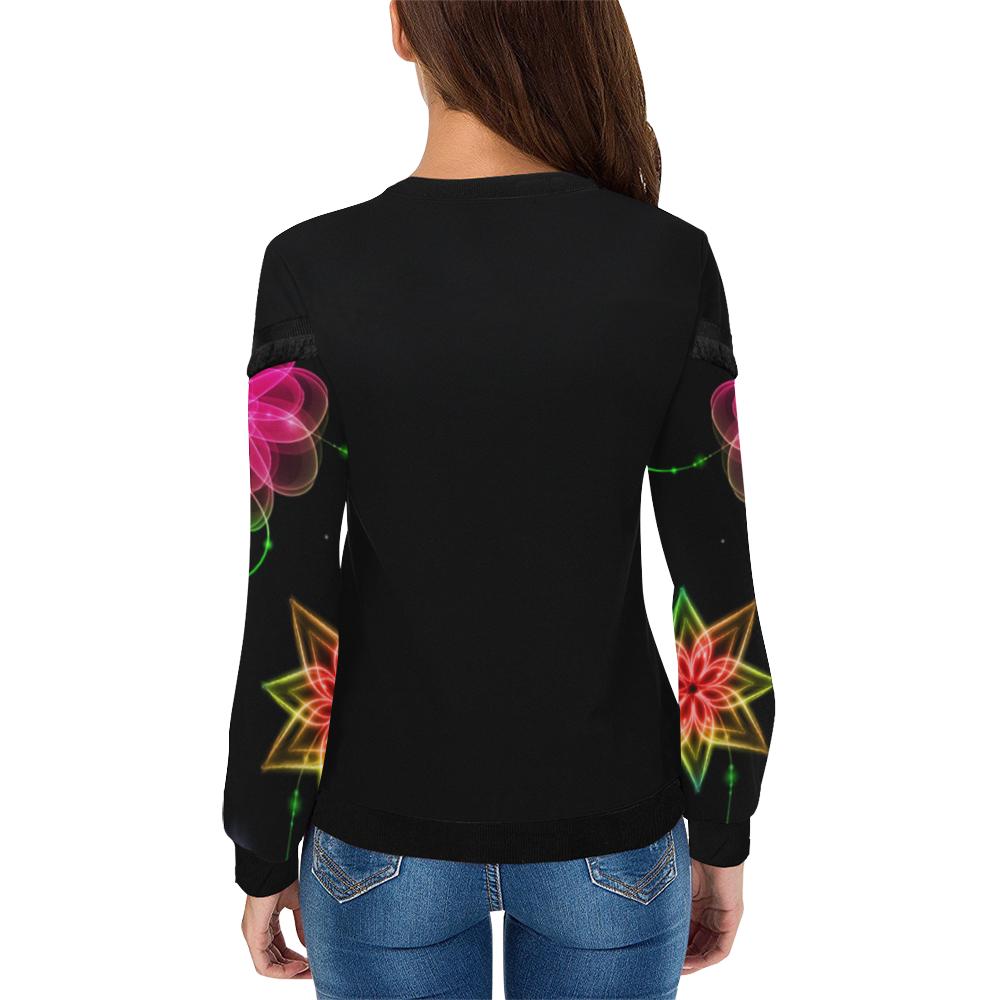 Neon Flowers Women's Fringe Detail Sweatshirt (Model H28)