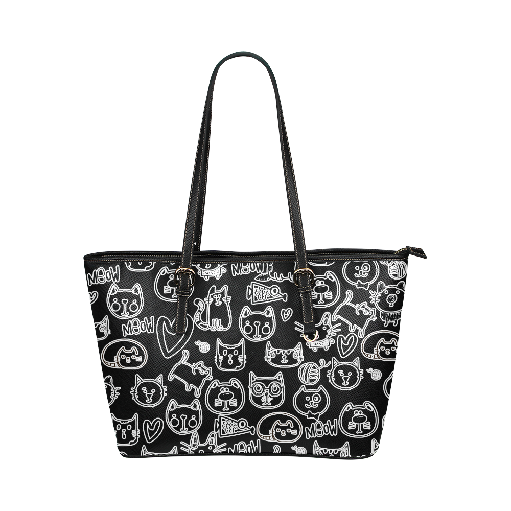 Meow Cats Leather Tote Bag/Small (Model 1651)