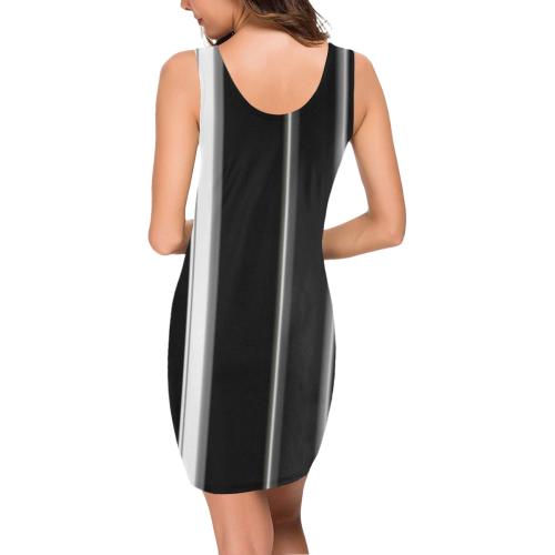 Teal black and white stripes vertical Medea Vest Dress (Model D06)