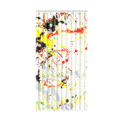 "Black, Red, Yellow Paint Splatter Window Curtain 50"" x 96""(One Piece)"