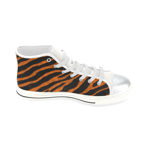 Ripped SpaceTime Stripes - Orange High Top Canvas Women's Shoes/Large Size (Model 017)