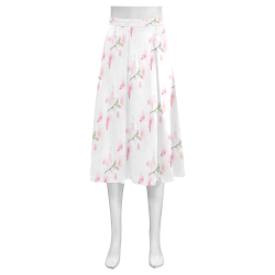 Pattern Orchidées Mnemosyne Women's Crepe Skirt (Model D16)