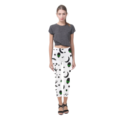 Alien Flying Saucers Stars Pattern on White Capri Legging (Model L02)