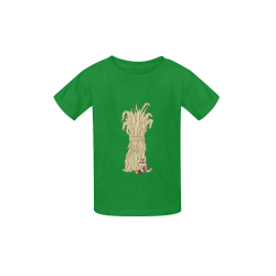 Autumn Chipmunk And Haystack Green Kid's  Classic T-shirt (Model T22)