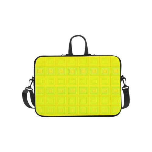 "Yellow multicolored multiple squares Laptop Handbags 10"""