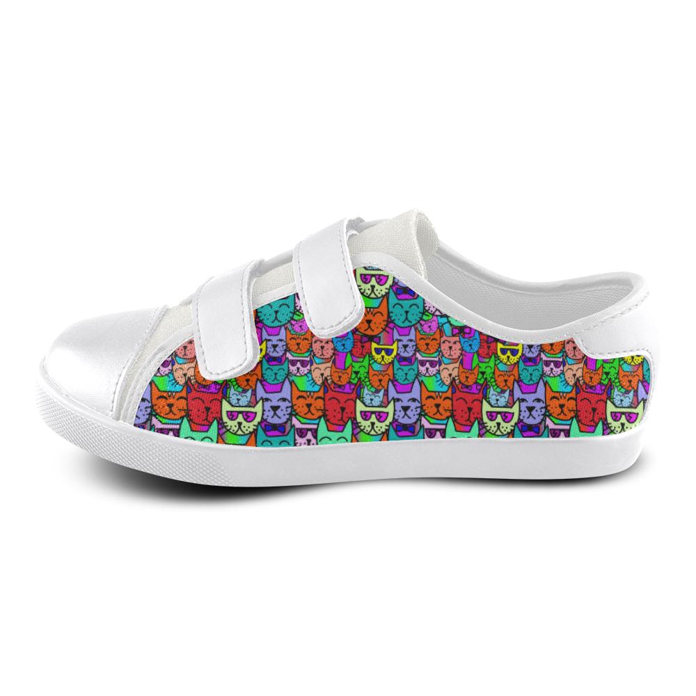 Rainbow Cats Velcro Canvas Kid's Shoes (Model 008)
