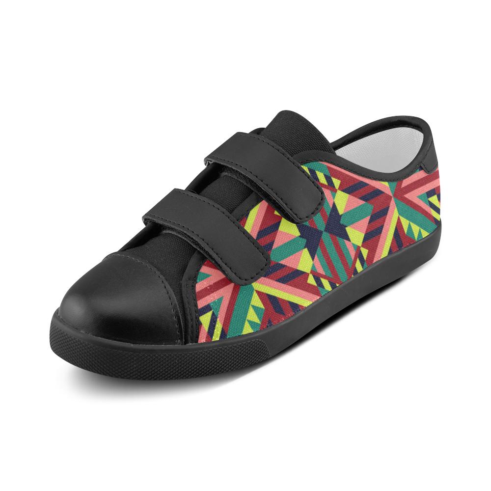 Modern Geometric Pattern Velcro Canvas Kid's Shoes (Model 008)