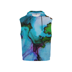 Blue green ink All Over Print Sleeveless Hoodie for Kid (Model H15)