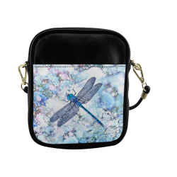 Blue dragonfly on blue bkgrnd Sling Bag (Model 1627)