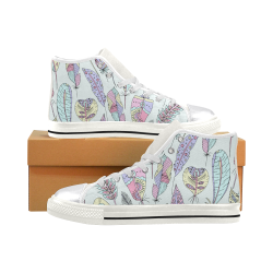 Mandala Feathers Shors, Peacock Feathers Women's Classic High Top Canvas Shoes (Model 017)