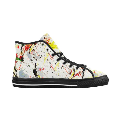 Yellow & Black Paint Splatter - Black Vancouver H Men's Canvas Shoes (1013-1)