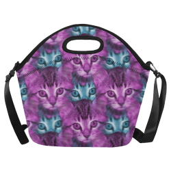 trippy kitten Neoprene Lunch Bag/Large (Model 1669)