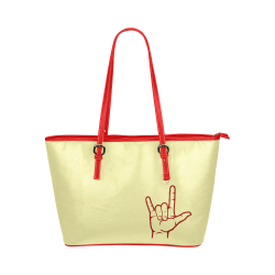 Red ASL I Love You Hand Leather Tote Bag/Large (Model 1651)