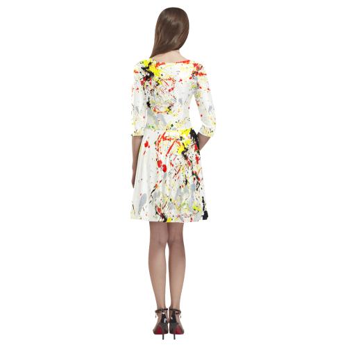 Black, Red, Yellow Paint Splatter Tethys Half-Sleeve Skater Dress(Model D20)