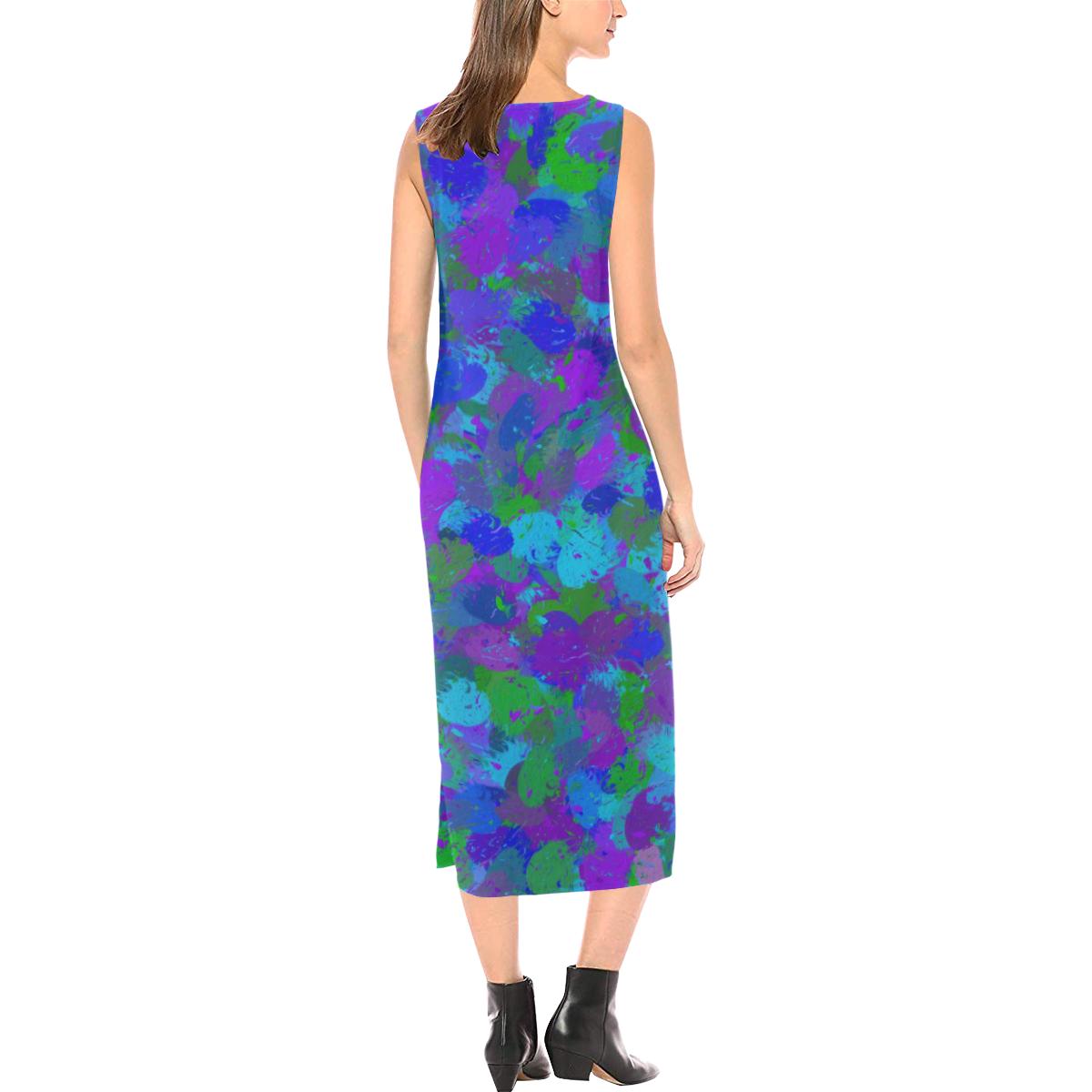 Peacock Color Splatters Phaedra Sleeveless Open Fork Long Dress (Model D08)