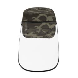 Camo Grey Military Style Cap (Detachable Face Shield)