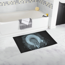 Wolf in black and blue Bath Rug 16''x 28''