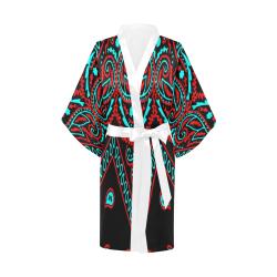 blue and red bandana version 3 Kimono Robe