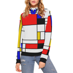 Bauhouse Composition Mondrian Style High Neck Pullover Hoodie for Women (Model H24)