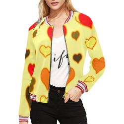 Hearts Pattern All Over Print Bomber Jacket for Women (Model H21)