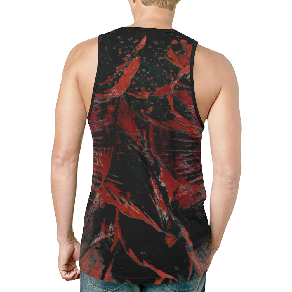 100 wheelVibe_8500 21 DIRTY BLACK RED New All Over Print Tank Top for Men (Model T46)