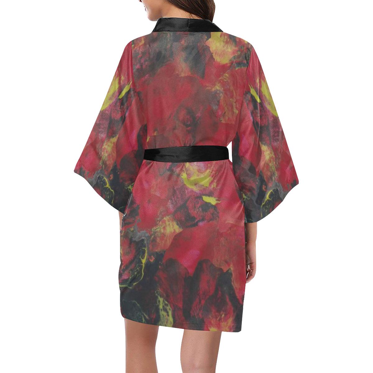 Midnight Blooms Kimono Robe
