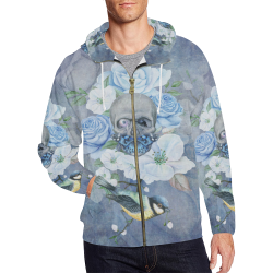 Gothic Skull With Butterfly All Over Print Full Zip Hoodie for Men (Model H14)