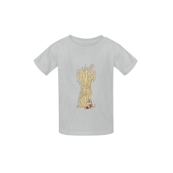 Autumn Chipmunk And Haystack Grey Kid's  Classic T-shirt (Model T22)